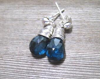 London Blue Topaz Stud Earrings, Sterling Silver, Wire Wrapped, December Birthstone Jewelry, Blue Post Earrings, Genuine Topaz Gemstone