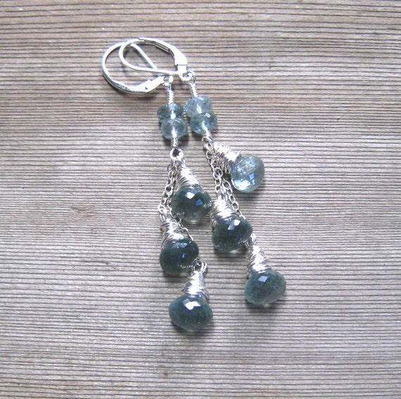 Moss Aquamarine Cascade Earrings  Sterling Silver