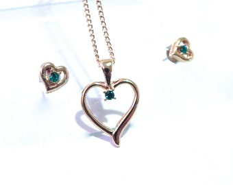 Vintage Earrings and Necklace Cute Heart Shaped set with Green Rhinestones - on sale