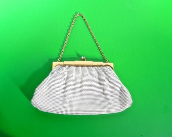 Vintage Whiting and Davis Art Deco Handbag - Gorgeous Antique Whiting and Davis White Chain Maille Bag - on sale