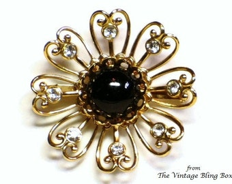 50s Rhinestone Flower Brooch with Pave Set Black Cabochon & Clear Crystals in Open Metalwork Figural Motif - Vintage 50's Costume Jewelry