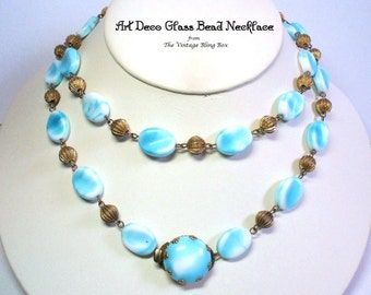 """Art Deco 31"""" Single Strand Beaded Necklace in Czech Blue Glass Bead Gold Chain Link Design - Vintage 30's Flapper Necklaces Costume Jewelry"""
