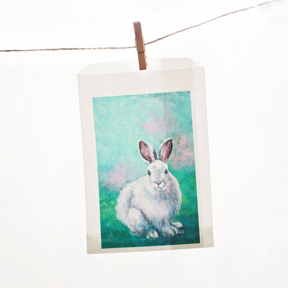 4 3/4 x 6 3/4 Easter Bunny- Glassine Bags set of 12  || Wedding Favor Bags, Treat Bags, Business Card Envelopes