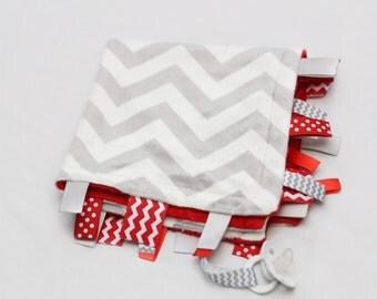 Baby Ribbon Tag Blanket - Minky Binky Blankie - Grey and White Chevron with Red
