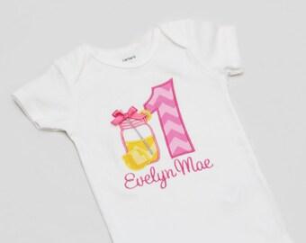 Pink Lemonade Birthday Shirt - Mason Jar