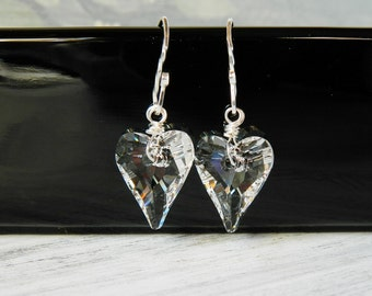 Clear Swarovski Crystal Heart Earrings Clear Heart Earrings Swarovski Heart Earrings Sterling Silver Wire Wrapped Wild Heart Drops Gift