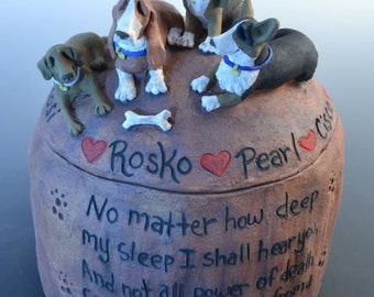 Custom Dog, Cat, Pet Urn for Four or more Animals- Any Animal- Any Breed- Pet Memorial,  Dog Urn, Small Animal Urn,  Urn for Multiple Pets