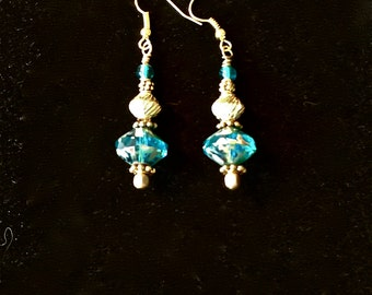 Aqua and Gold Dangles
