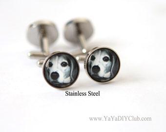 Personalized dog gift, Custom dog photo gift, Custom Photo Cufflinks, Stainless Steel cufflinks, Custom Logo Cuff Links, Corporate Logo Gift