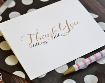 Wedding Thank You Note Cards / Bridal Shower Thank You Notes / Personalized Wedding Thank You Cards / Couples Stationery Gold and Black