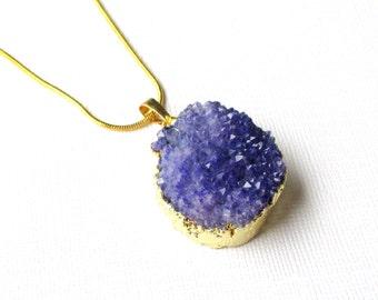 Druzy Geode Pendant - Purple Indigo Crystal Pendant - Rough Surface Teardrop - Electroplated Gold - Semiprecious - DIY Druzy Jewelry