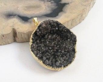 Titanium Crystal Druzy Pendant - Dark Brown Charcoal - Dipped in Gold Teardrop - Semi Precious - Natural Rough Stone - DIY Jewelry
