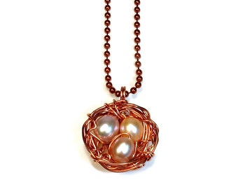 Birds Nest Necklace,  Pendant, Robins Nest, Copper Jewelry, Freshwater Pearls, Handmade Gift Idea, Mothers Day