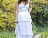 Floor length wedding dress strapless peaked neckline long chiffon 3 tiered skirt cotton bodice lining wedding gown bridesmaids dress