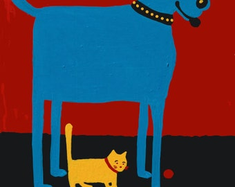 Royal Tee Blue Dog, Yellow Cat Rescued is My Favorite Breed copyright Hillary Vermont
