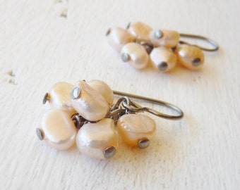 Peach Pearl Cluster Earrings, Hypoallergenic Nickel Free Earrings for Sensitive Ears, Niobium Jewellery, Nickel Free Bridal Jewelry