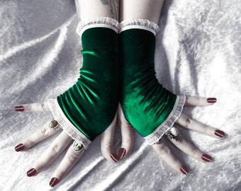 Velvet Gloves Fingerless | Deep Hunter Midnight Forest Green White Ruffle Lace | Holiday Christmas Gloves Winter Festive | Evergreen Thicket
