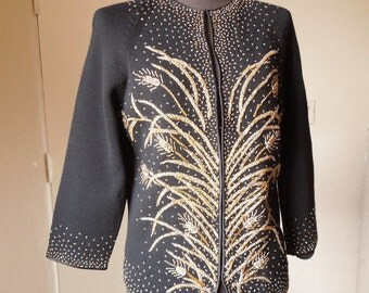 LUSH...Vintage 60's Beaded Cardigan Sweater, GORGEOUS Black and Gold, 50's Rockabilly Mad Men Style, Women's Medium