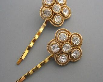 Bold Gold Crystal Floral Bobby Pins