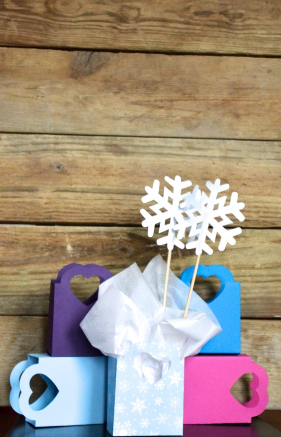 Frozen Wintery Heart Handled Gift Bag, custom colors available