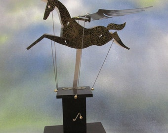 Black and Gold Pegasus Automata with black base