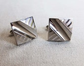 Vintage Square Cuff Links, Designed by SWANK, Silver Tone Engraved Metal Design, Geometric Square Cuff Link, Madmen Style, Father's Day