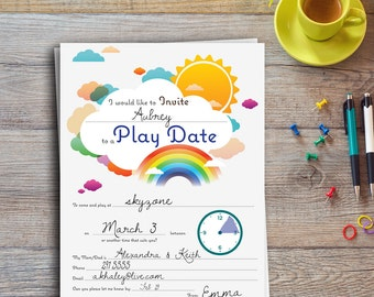 Play Date Invitation | Colorful | Editable | Printable | Instant download