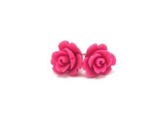 Mini Magenta rose Earrings- Surgical Steel or Titanium Post Earrings- 9mmBlack Friday Sale 20% Off