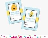 Printable Bee Valentines Day Card - School Valentines Day Card - Valentines Day Printables - Bee Valentine - Digital File Label Sticker
