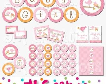Tweet Bird Baby Shower Printable Decorations - Baby Girl Shower Printables  - Pink Orange Bird Baby Shower - Banner - INSTANT DOWNLOAD Pdf