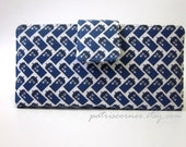 Handmade women's bifold wallet - Doctor Who small diagonal TARDIS blue - Custom -