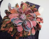 Felted wool flower pin brooch corsage green blue orange pink - Dramatic quirky large huge - Made to order