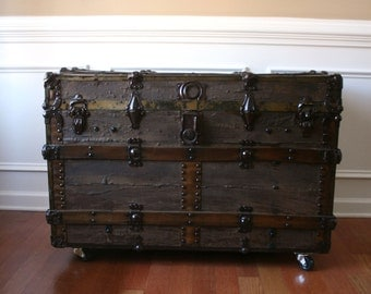 Antique Steamer Trunk. Industrial Fall Home Decor. Coffee Table. Flat Top. Wood. Canvas. Leather. Metal. Sofa Table. Bedside. Vintage Trunk.