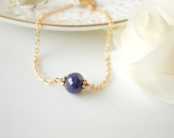 Sapphire Nugget Minimalist Chain Bracelet - 14k Gold Filled or Sterling Silver