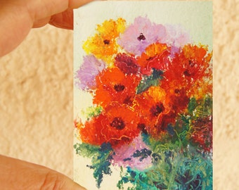 Original ACEO painting - Miniature art trading card, original ATC, 2.5 by 3.5 in - Poppy Mix oil pastel floral painting, SFA Miniature