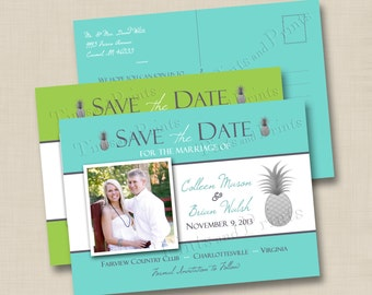 Pineapple Destination Wedding Save the Date Postcard Design double sided - choose your wedding color