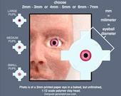 RUBY Mini Eyeballs, Jewel Colors:  2mm - 3mm eyes, 4mm - 5mm eyes, 6mm - 7mm eyes
