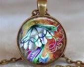 Psychedelic Jellyfish pendant, jellyfish resin pendant, jellyfish necklace charm, jellyfish jewelry, marine life pendant keychain key chain