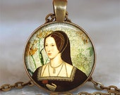 Anne Boleyn necklace, Anne Boleyn pendant, Tudor resin pendant Tudor jewelry Anne Boleyn jewelry keychain key chain