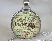 Dayton, Ohio map pendant, Dayton map necklace, Dayton necklace, Dayton pendant, map jewelry Dayton keychain key chain key ring