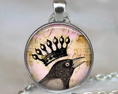 Royal Raven pendant, raven necklace, raven jewelry raven jewellery, crowned crow necklace raven keychain key chain