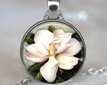 Magnolia necklace, magnolia flower pendant magnolia wedding jewelry bridesmaid gift magnolia pendant brooch pin key chain key ring key fob