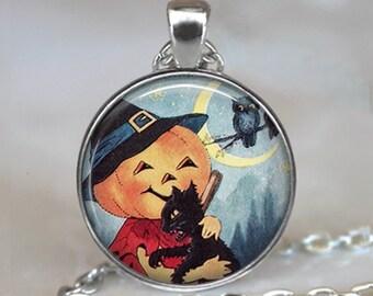 Pumpkin Love pendant, Halloween jewelry, Halloween necklace charm, Halloween pendant, pumpkin pendant Halloween black cat