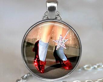 Ruby Slippers pendant, Oz jewelry, Oz necklace, Wizard of Oz jewelry, Ruby Slippers necklace, Wizard of Oz pendant keychain key chain