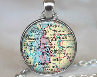 Seattle map pendant, Seattle pendant Seattle map necklace, Seattle necklace, map jewelry Seattle keychain key chain
