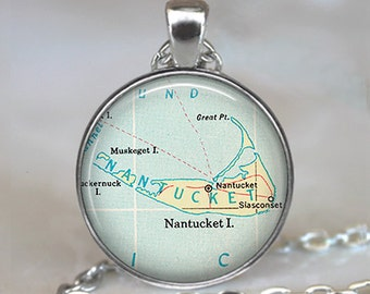 Nantucket map pendant, Nantucket necklace, Nantucket Island map jewelry, Nantucket pendant keychain key chain