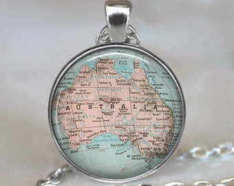 Australia map pendant, Australia map necklace, Australia pendant, map jewellery Australia necklace Australia keychain key fob key ring