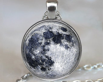 Full Moon necklace, full moon pendant, moon jewelry moon jewellery outer space astronomy pendant NASA photo pendant keychain