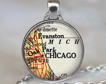 Chicago map necklace, Chicago map pendant, Chicago necklace charm, Chicago pendant, Chicago keychain key chain