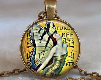 Art Nouveau Fairy pendant, fairy necklace, fairy jewelry, golden fairy, Art Nouveau jewelry fairy jewelry keychain key chain